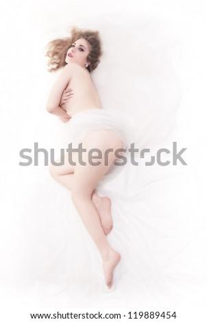 Naked woman on white background - stock photo