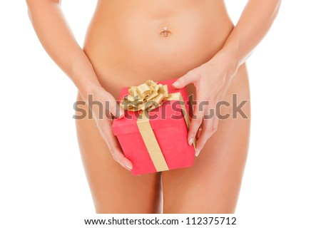 Naked woman with a gift box