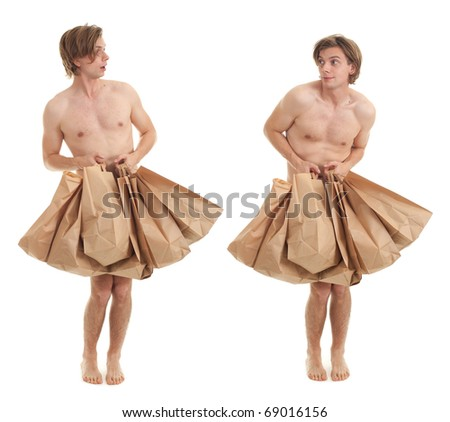 naked young handsome man covering by shopping paper bags