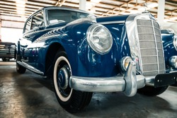 NAKHON PATHOM, THAILAND - 4 FEB 2018: Vintage cars at Jesada Technik Museum. Blue classic model of Mercedes brand.