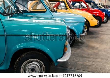 NAKHON PATHOM, THAILAND - 4 FEB 2018: Vintage cars at Jesada Technik Museum. Many brand and classic model Mercedes, Volvo and Chevrolet included.