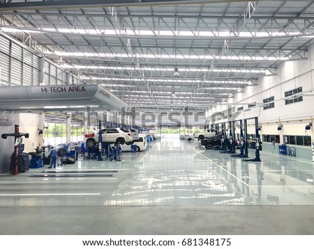 NAKHON RATCHASIMA, THAILAND - JULY 21 : Toyota service center, car maintenance, car diagnostics on July 21, 2017 in Nakhon Ratchasima city, thailand.