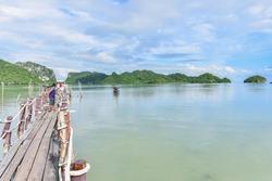 Nakhon Si Thammarat, Thailand - November 21, 2020: Ao Taled Wooden Bridge, Famous Spot for Pink Dolphin Watching