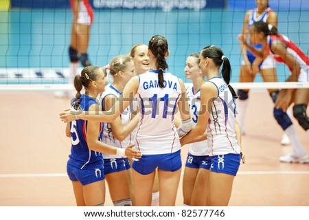 NAKHONPATHOM,THAILAND - AUGUST 5 :Russia Taem in action during Volleyball World Championships 2011 Russia vs Cuba at Nakhonpathom in Thailand on August 05, 2011