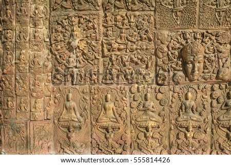 "Nakhonratchasima ,Thailand, 28DEC2016 : Buddha sculpture image at ""WAT SIMALAI SONGTHAM"". Thai style stone carving"
