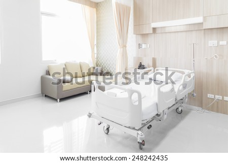 NAKHONRATCHASIMA, THAILAND - November 15, 2014: Hospital room with beds and comfortable medical equipped in a modern hospital, November 15, 2014 in Nakhonratchasima, Thailand.