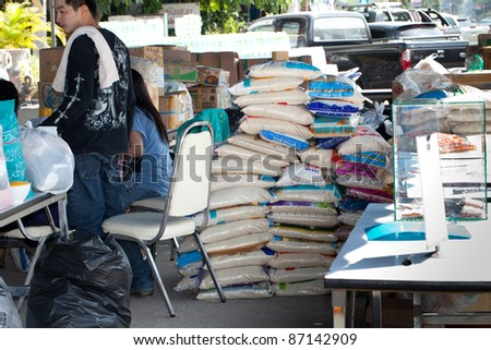 NAKHONRATCHASIMA, THAILAND - OCT 22 : Government offices, NGOs and volunteers collected relief supplies for sufferers about flood crisis in Thailand on October 22, 2011 in Nakhonratchasima, Thailand.