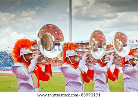 NAKHONRATCHASIMA, THAILAND - SEPT 4 : Rajsima Wittayalai school's marching band at the Office of Basic Education Committee (OBEC) Sports Week on September 4, 2011 in Nakhonratchasima,Thailand - stock photo