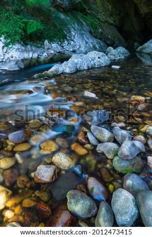 Nalon river in Deboyu cave surroundings of Campo de Caso village within Redes Natural Park of Caso council in Asturias Autonomous Community of Spain, Europe Foto stock ©