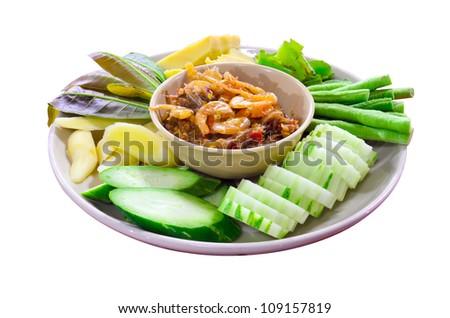 Nam Prik Kung Siab, Thai chili and shrimp dipping sauce and Fresh Vegetables