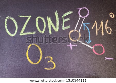 name, chemical formula and structure diagram of Ozone handwritten on blackboard with colorful chalk #1310344111