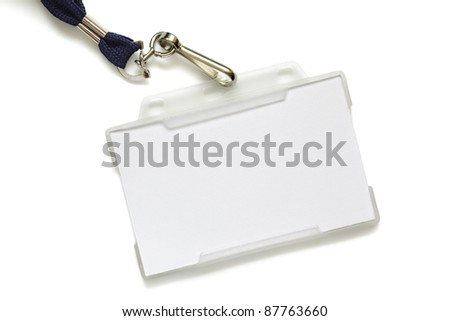 Name tag in plastic sleeve with lanyard, identity card is left blank for label