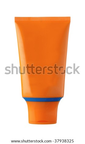 nameless orange and blue plastic bottle for beauty product on white background