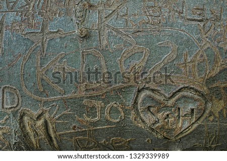 Names and hearts etched in tree bark, love sworn #1329339989