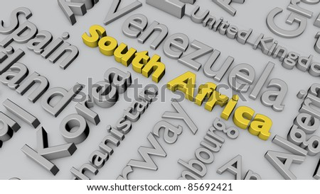 Names of important countries, with focus on South Africa.