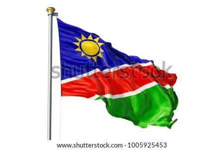 Namibia flag. Isolated 3d Namibia flag