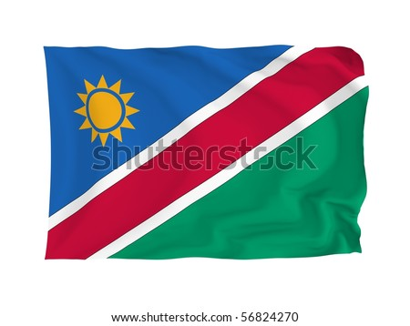 Namibia. High resolution African Flag series. With fabric texture.