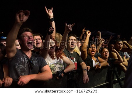 NAMPA, IDAHO - SEPTEMBER 25 : The crowd at a Shinedown live Concert at the Rockstar Uproar Festival on September 25, 2012 in Nampa, Idaho.