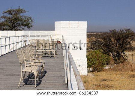 Namutoni Fort, entrance to Etosha National Park, Namibia. (a fort that was originally a German police post and later as a place to hold English prisoners in World War I)
