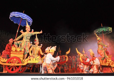 "NAN, THAILAND - FEBRUARY 19: Unidentified actors performs Thailand Dancing art called ""Khon"", an high-class of historic dance, on February 19, 2012 in Nan, Thailand"