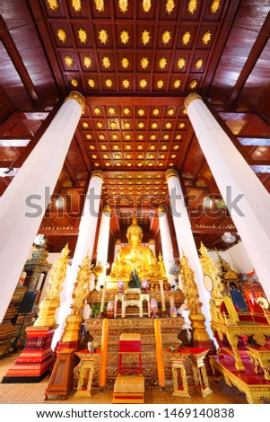 Nan, Thailand - July 19, 2019 : Buddha Statues at Wat Phrathat Chae Haeng a sacred place to worship situated on the eastern side of the Nan River, Nan Province, Thailand                                #1469140838
