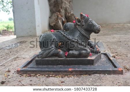 Nandi sculpture (cow) at lord shiva temple .  handicraftsmen on stone Stock photo ©