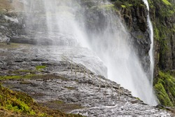 Naneghat waterfall is located near Pune Maharashtra due to high wind flow the waterfall flows in reverse.