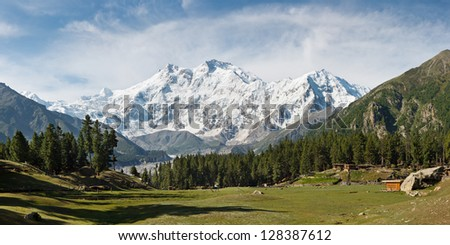 Nanga Parbat and Fairy Meadows Panorama, Himalaya, Pakistan. The ninth highest mountain in the world and western anchor of the Himalaya seen from the idyllic Fairy Meadows, Pakistan.