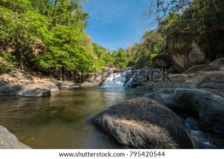 Nangrong Waterfall l,Nakhon Nayok in Thailand  Stock fotó ©