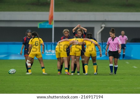 NANJING, CHINA-AUGUST 18: Australia Rugby Team (yellow) plays against Spain Rugby Team (red) during Day 2 match of 2014 Youth Olympic Games on August 18, 2014 in Nanjing, China.