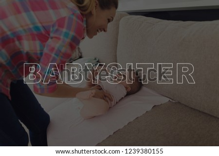 Nanny Change a Diaper of Cute Baby. Happy Young Nanny. Child Lying on Couch. Beautiful Caucasian Toddler. Toddler is Little Girl. People Located in Living Room. Motherhood Concept.