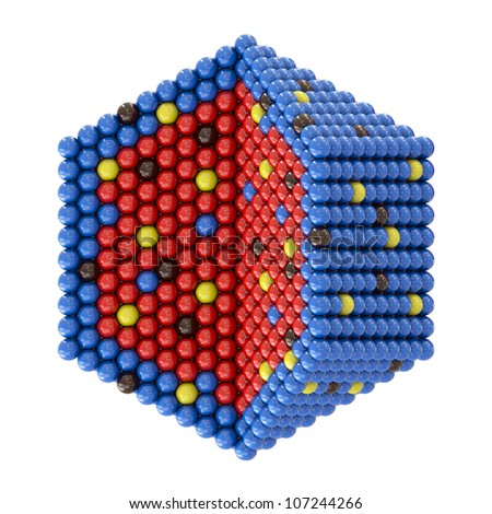 Nano particles in hexagonal cross section on white background