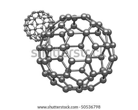 Nano sphere from carbon atoms isolated on white background. There is a clipping path