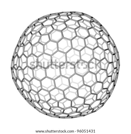 Nanocluster fullerene C540 molecular structure on a white background