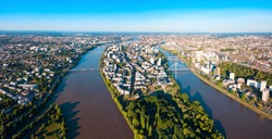 Nantes city between the branches of the Loire river aerial view in Loire-Atlantique region in France