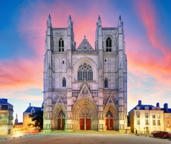 Nantes city in France - Sunset view on the saint Pierre cathedral