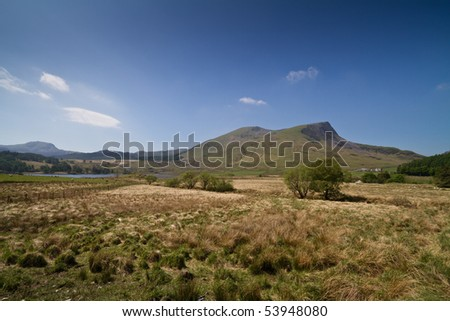 Nantlle Ridge, Snowdonia National Park, Wales, UK on a sunny day viewed from Rhyd-Ddu
