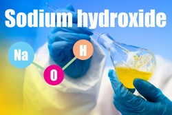 NaOH. Sodium hydroxide. Chemist mixes alkali in a flask. Concept - caustic soda in the hands. Chemist synthesizes leading substances. Scientific experiments with NaOH. Study of the  sodium hydroxide