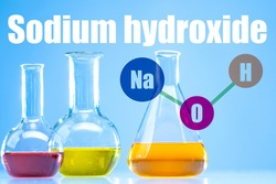 NaOH. The inscription nadrium hydroxide. Test tubes with multi-colored substances. NaOH logo on one of the test tubes. Concept - the use of alkali in soap making. Caustic substance. Caustic soda