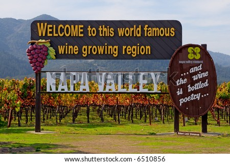 Napa Valley sign before you enter Napa Valley in Autumn - stock photo
