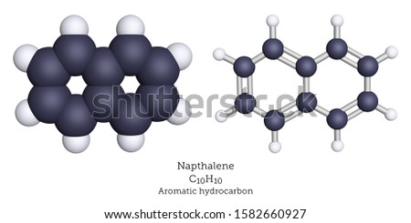 Naphthalene is an aromatic hydrocarbon and a moth repellent, shown here as a 3d illustration of space-filling and ball-and-stick molecular models,