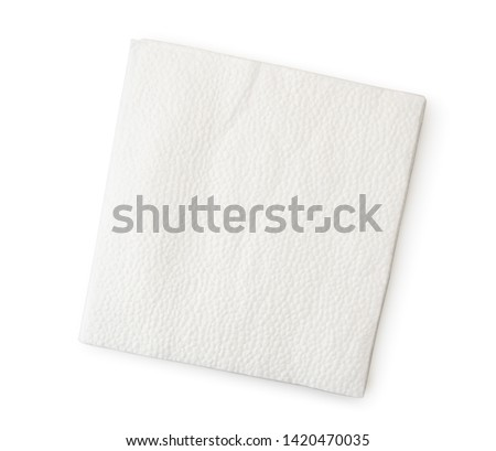 Napkin close-up on a white. The form of the top.