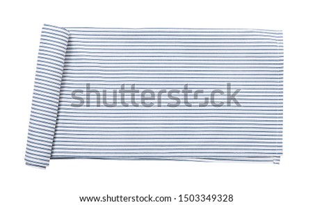 Napkin isolated on white. Multi-colored linen napkins for restaurant. Mock up for design. Top view.