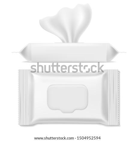 Napkin pack. Antibacterial packs, wet wipes hygiene paper hand napkin makeup clean mockup sanitary packing template, realistic design