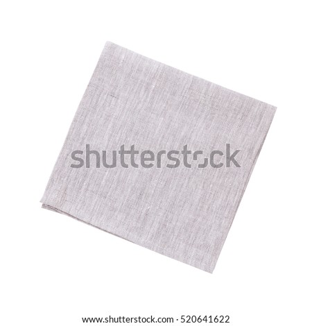 Napkins isolated on white. White linen napkins for restaurant. Empty napkins mock up for design. Napkins top view close up. Place for text on napkin.