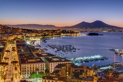 Naples and Mount Vesuvius in Italy before sunrise