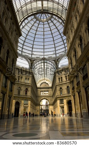 NAPLES- APRIL 5:Galleria UmbertoI on April 5, 2011 in Naples, Italy.The Galleria was designed by Emanuele Rocco and is the main downtown thoroughfare, and another opens onto the San Carlo Theater