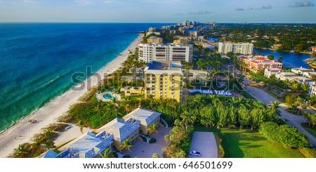 Naples coastline, Florida aerial view.