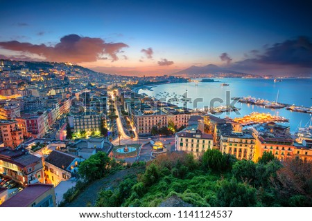 Naples, Italy. Aerial cityscape image of Naples, Campania, Italy during sunrise. Stock fotó ©