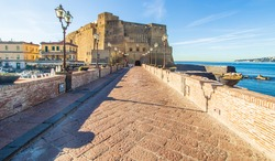 Naples, Italy - built during the 15th century, and a main landmark in Naples, Castel dell'Ovo (Egg Castle) is a seaside castle located in the Gulf of Naples